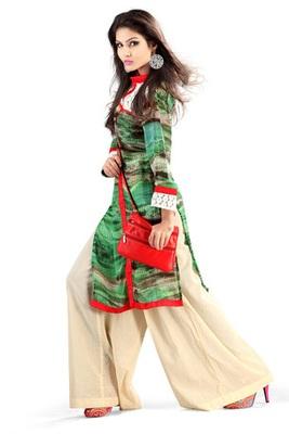 Green Georgette Digital Printed Pakistani Kurti