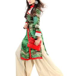 Green Georgette Digital Printed Pakistani Kurti