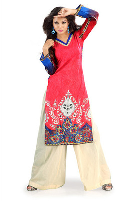 Red Cotton Kurti having Allover Subtle Prints
