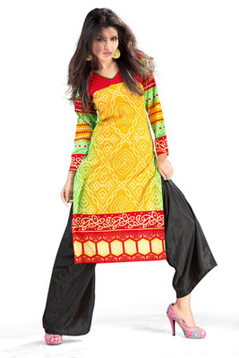 Yellow and Maroon Cotton Printed Kurti