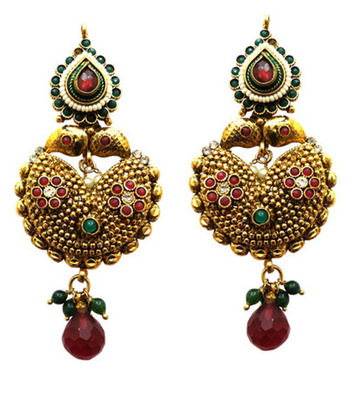 traditional red and green polki earring