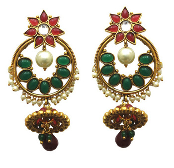 designer red and green polki earring