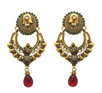designer red stone drop polki earring