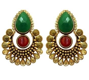designer red and green polki earring