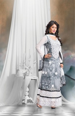 White and Black Embroidery Pure Georgette Semi Stitched Designer Straight Suit