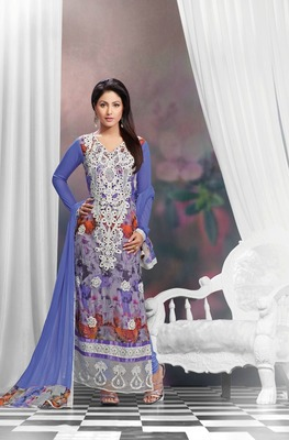 Sky Blue Embroidery Pure Georgette Semi Stitched Designer Straight Suit