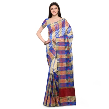 Blue woven polycotton saree with blouse