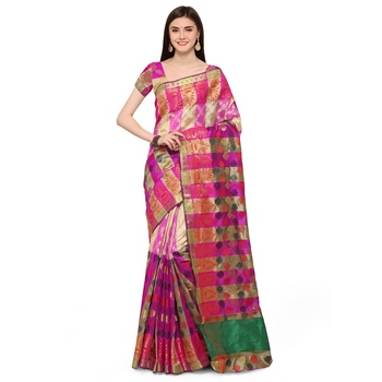 Pink woven polycotton saree with blouse