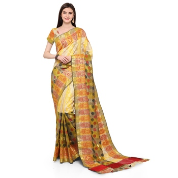 Yellow woven polycotton saree with blouse