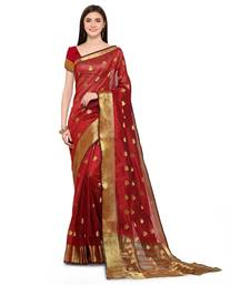 Buy Red woven jacquard saree with blouse banarasi-saree online