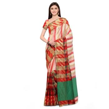 Multicolour woven polycotton saree with blouse