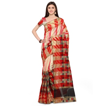 Red woven polycotton saree with blouse