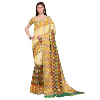 Yellow woven polycotton saree with blouse