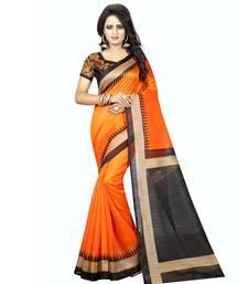 Buy Orange printed bhagalpuri silk saree with blouse printed-saree online