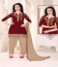 Buy Maroon embroidered cotton salwar