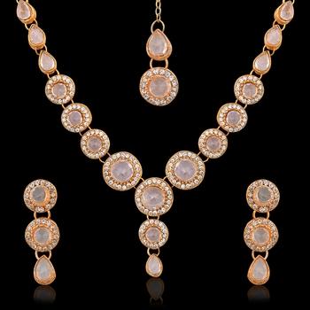 White Circle Stone Diamentes Necklace Set B152W
