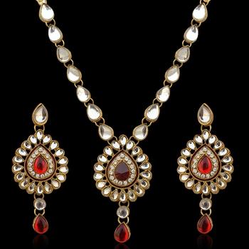 Ethnic Indian Jewelry Maroon White Kundan Like Work Necklace Set b160m