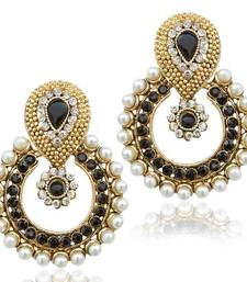Pearl with black stone traditional ethnic Indian earring b332k shop online