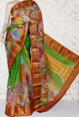 Designer Handprinted Pure Silk Saree Without Blouse