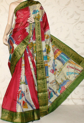 Designer Handprinted Pure Silk Saree Without Blouse