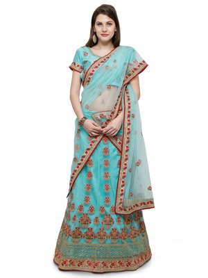 Turquoise Embroidered Net Unstitched Lehenga
