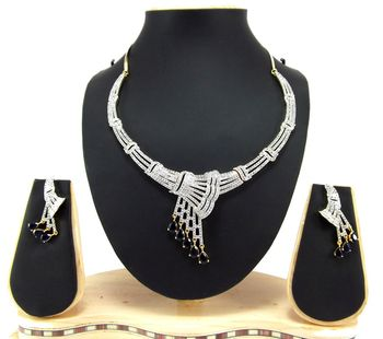 sapphire blue american diamond party wear necklace set