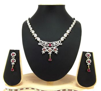 Ruby american diamond fusion necklace set