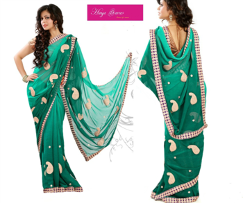 Shaded Peacock Green Georgette  Saree with Heavy Paisley Zari Work