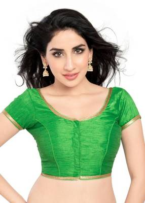 Parrot Green Color Banglory Designer Blouse Materials