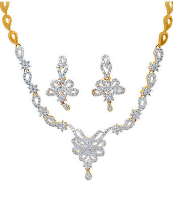 Terrific Gold American Diamond Necklace Set