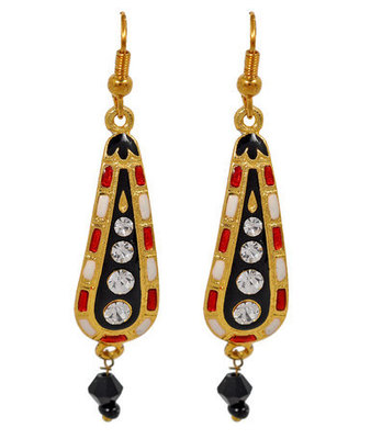 Special Black Meenakari Fish-Hook Dangler Earrings