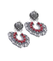 Buy GiftPiper Oxidized Metal Earrings with Stones- Red Earring online
