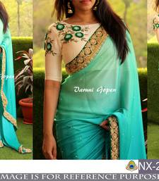 Buy Green  embroidered georgette saree with blouse bridal-saree online