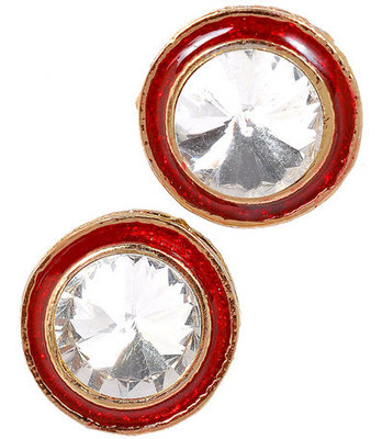 Sparkling Red Stone Work Push-Back Stud Earrings