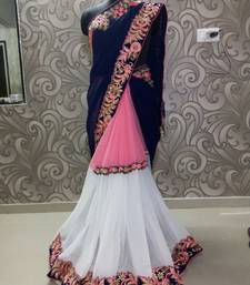 Buy light_pink woven faux_georgette saree with blouse georgette-saree online
