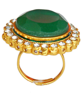 Lovable Green Stone Work Adjustable Finger Ring