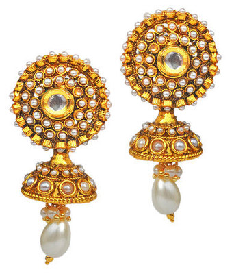 Darling White Pearl Push-Back Drop Earrings