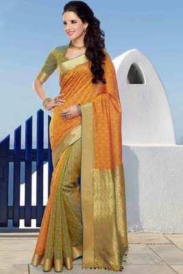 Orange & Bluish Green cot silk weaved saree in golden border