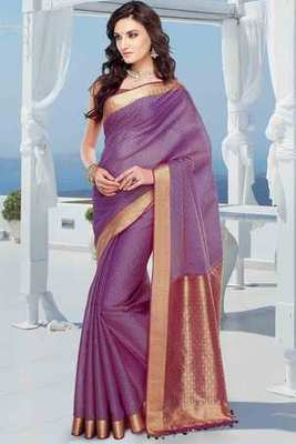 Orangish Purple cot silk weaved saree in purple & gold weaved pallu