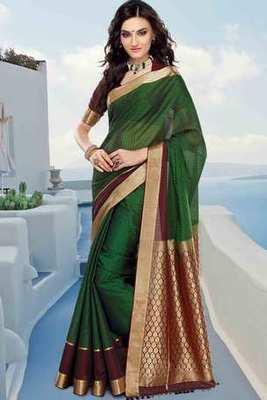 Green cot silk weaved saree in maroon & gold weaved pallu