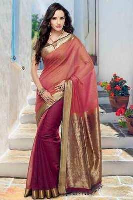 Orangish Pink & Wine cot silk weaved saree in wine & gold weaved pallu