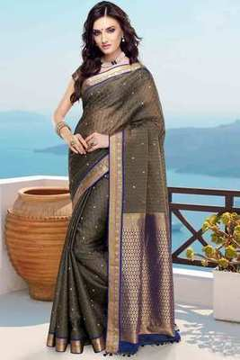 Grey cot silk weaved saree in royal blue & gold weaved pallu