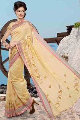 Pale yellow cot silk thread worked saree in multi colour border