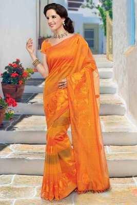 Orange cot silk thread worked saree in orange & gold pallu