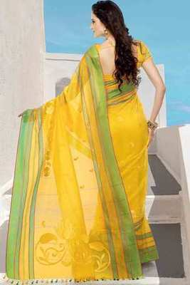 Yellow cot silk thread worked saree in multi colour border & yellow pallu