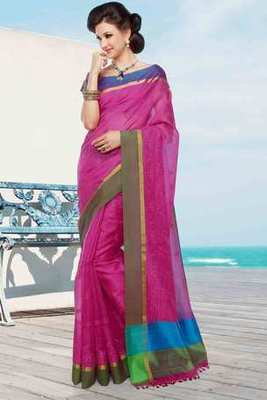 Pink cot silk hread worked saree in multi colour border & pallu