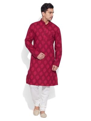 raspberry cotton printed stitched kurta