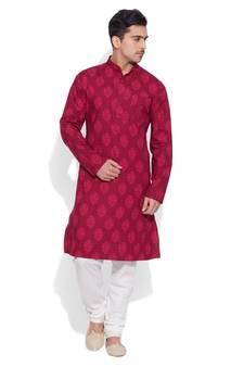 804893f9cef7 raspberry cotton printed stitched kurta