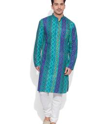 Buy teal cotton printed stitched kurta men-kurta online
