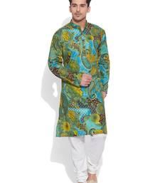 green cotton printed stitched kurta